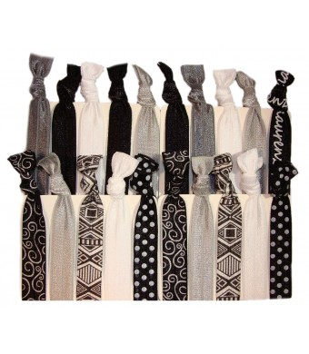 """Kenz Laurenz Hair Ties Ponytail Holders - 20 Pack """"Tribal Black Silver White"""" Aztec No Crease Ouchless Elasti"""