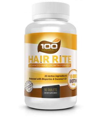 100 Naturals Hair Rite: Hair Growth Vitamins Supplements - 10000 Mcg of Biotin, 33 Ingredients, Enhanced with B