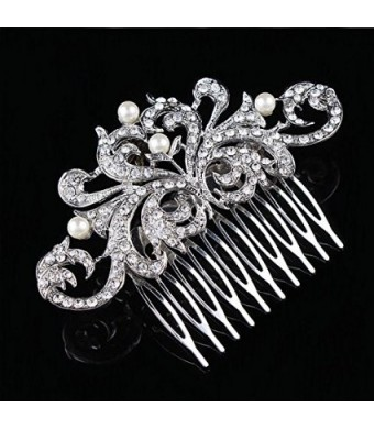 NIPOO Bridal Flower Pearl Crystal Hair Side Combs