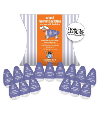 Squeeze Pod NATURAL MOISTURIZING LOTION - Best Travel Size Toiletry. 15 Single-Use Pods. Shea butter rich and