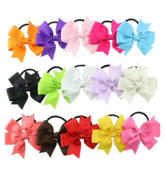 "Bzybel Boutique Baby Girls 3.5"" Grosgrin Ribbon Hair Bows Ponytail Holderes Hair Ties for Teens and Young Women 15pcs"