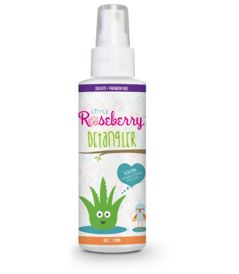 Little Roseberry Hair Detangler Spray for Kids. Made with Organic Aloe Vera Juice and Natural Vitamins to Hydrate.