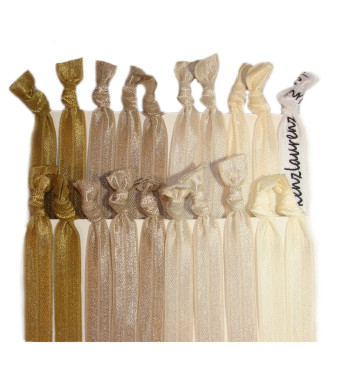 """Kenz Laurenz Hair Ties Ponytail Holders - 20 Pack """"Blonde Ombre"""" Gold Beige Taupe Tan No Crease Ouchless Elas"""