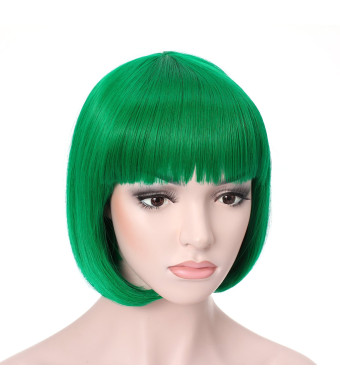 "OneDor 10"" Short Straight Flapper Bob Heat Friendly Cosplay Party Costume Hair Wig (T2615-Green)"