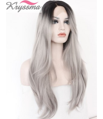 K'ryssma Christmas 2 Tones Synthetic Lace Front Wig Ombre Hand Tied Straight Silver Wig Dark Roots Heat Resistant Fiber Hair 20 Inches