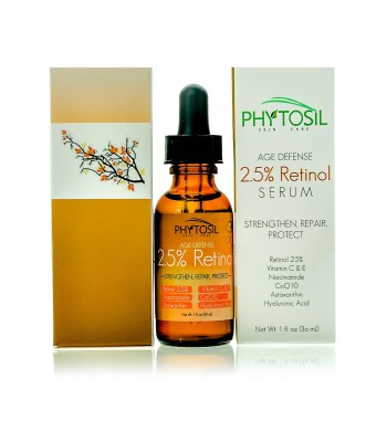 Phytosil 2.5% Retinol Serum - Strongest Retinol Available - With 20% Vitamin C and E, Hyaluronic Acid, Asta