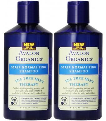 Avalon Organics Scalp Normalizing Therapy Tea Tree Mint Shampoo, 14 Ounce (Pack of 2)