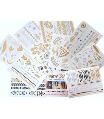 10 Sheets Modern Boho Metallic Tattoos Flash Gold/Silver Ultimate Collection