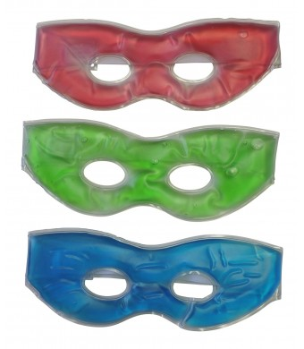 Dependale Industries 3 Pack Soothing Therapeutic Gel Eye Masks-hot or Cold-velcro Strap Relieve Stress and Tension