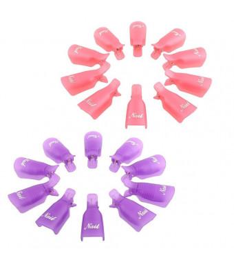 Blovess Yueton Pack of 20 Reusable Nail Art Soak Off Cap Clip UV Gel Polish Remover Wrap Tool