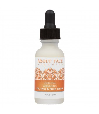 About Face Organics Organic Anti Aging Serum with Vitamin C, B3, A and E + Hyaluronic Acid, DMAE and CoQ10   All in On
