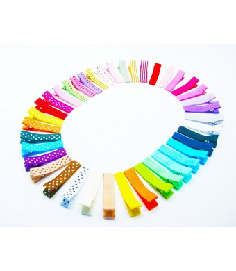 ColorBeBe - Set of 40 Ribbon Lined Single Prong Alligator Clips (Assorted Color) JC-012