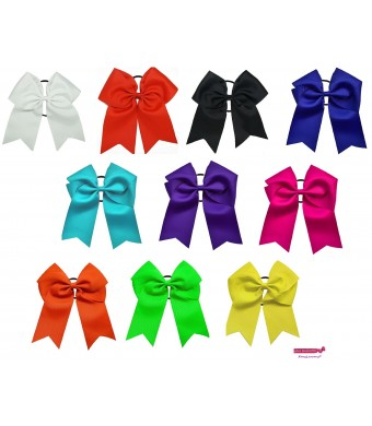 """Kenz Laurenz 7"""" Jumbo Cheer Bow Big Hair Bows Ponytail Holder Large Classic Accessories for Teens Women Girls"""