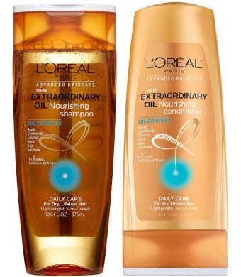 L'Oreal Paris Advanced Haircare - Extraordinary Oil - Nourishing Shampoo and Conditioner Set - Net Wt. 12.6 FL OZ (375 mL) Each - One Set