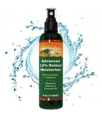 Rise 'N Shine Online 4 Oz 2.5% Retinol Moisturizer Cream - FREE EBOOK - Anti-Aging Facial Moisturizer, Improves Skin To