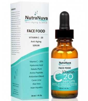 FACE FOOD – BEST Anti Aging Natural Vitamin C SERUM with KAKADU PLUM, Hyaluronic Acid, Peptides, AHA's, Aquatic Plants, Aloe, etc. for Wrinkles, Age Spots, More Collagen – by Nutranuva