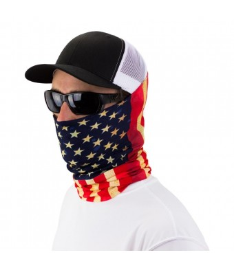 Hoo-rag Old Glory American Flag Bandana - Seamless Bandana for Fishing, Hunting, Sports, Outdoors, Camping, Hiking, Biking, Motorcycling, Golfing, Skiing, Snowboarding - Can Be Used As Headband, Neck Warmer, Balaclava, Neck Gaiter, Scarf, Headwrap, Helmet