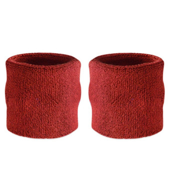 Suddora Wrist Sweatband Also Available in Neon Colors - Athletic Cotton Terry Cloth Wristband for Sports (Pair)