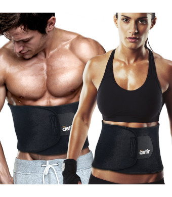"""Astir Waist Trimmer Ab Belt For Women and Men•Extra Long (44""""), Extra Wide (9""""), and Extra Flexible Sweat Belt with Maximum Abdominal Coverage•Non-Slip Surface for Max Waist Slimming•Lifetime Guarantee"""