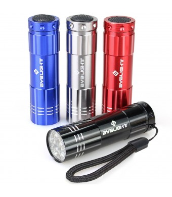 Pack of 4, BYBlight Super Bright 9 LED Mini Aluminum Flashlight with Lanyard, Assorted Colors, Bat