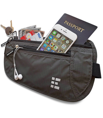 Zero Grid Money Belt w/RFID Blocking - Concealed Travel Wallet and Passport Holder