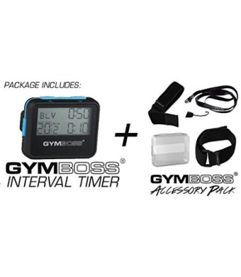 Gymboss Interval Timer and Stopwatch + Gymboss Accessory Pack Kit