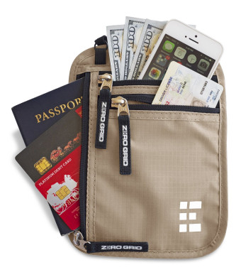 Zero Grid Neck Wallet w/RFID Blocking- Concealed Travel Pouch and Passport Holder