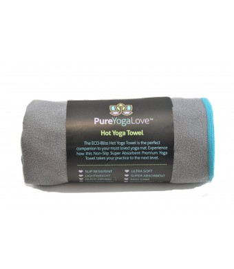 "Hot Yoga Towel (24""X 72"") by Pure Yoga Love – Super Absorbent, Anti- Slip, Eco-Quick Dry And Durable, Improve Mat Grip Works For Bikram, Ashtanga And All Types Of Yoga"