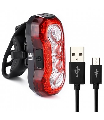Lighting EVER LE Super Bright Bike Light, Waterproof Cycling Light, USB Rechargeable Rear Tail Light, 4 LEDs, 5