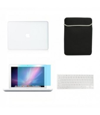 """Top Case Macbook White 13"""" 13-inch (A1342 / Latest) 4 in 1 Bundle - Rubberized Hard Case Cover + Matching Color Soft Sleeve Bag + Silicone Keyboard Cover + LCD HD Clear Screen Protector With TopCase Mouse Pad (Case NOT for 1st Gen A1181 with Mouse Clicker"""
