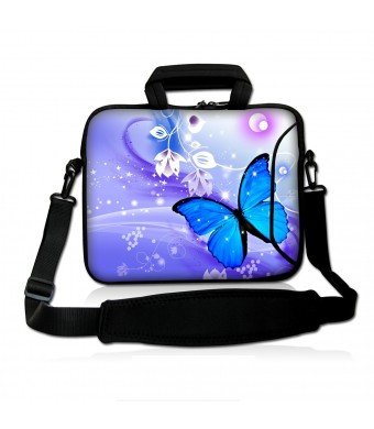 """Colorfulbags Fshb15-011 NEW Fashion BLUE BUTTERFLY 14"""" 14.1"""" 14.2"""" 15"""" 15.4"""" 15.6"""" Inch Laptop Notebook C"""