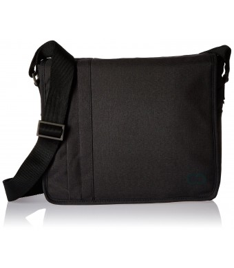 15 Inch MacBook Pro / Laptop Casecrown Canvas Horizontal - Campus Messenger Bag (Black Stealth)