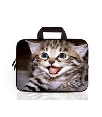 iColor -Fashion Cute Kitten 13-13.3 Inch Laptop Netbook / Notebook Computer / MacBook Air / MacBook Pro Case Briefcase Bag Pouch Sleeve Carry Case (IHB13-008)