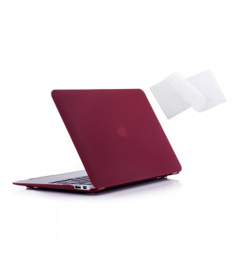 "Ruban - Air 11-inch 2 in 1 Soft-Touch Hard Case Cover and Keyboard Cover for Macbook Air 11.6"" Models: A1370 / A1465 - Wine Red"