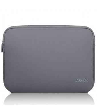 Arvok 15 15.6 Inch Water-resistant Neoprene Laptop Sleeve Case Bag/Notebook Computer Case/ Briefcase Carrying Bag/ Skin Cover For Acer/ Asus/ Dell/ Fujitsu/ Lenovo/ HP/ Samsung/ Sony/ Toshiba(Grey)