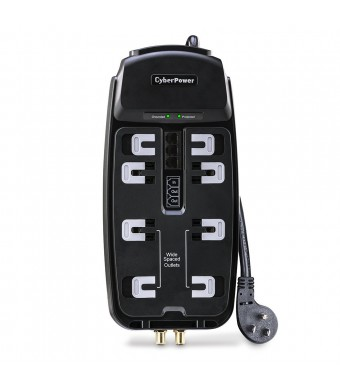 CyberPower CSHT808TC Home Theater 8-Outlets Surge Suppressor 8FT Cord and AV protection 2850 Joules