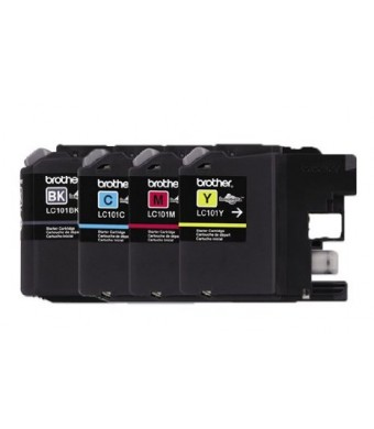 Genuine Brother LC101 (LC-101) Color (Bk/C/M/Y) Ink Cartridge 4-Pack (Includes 1 each LC101BK, LC101C, LC101M, LC101Y) for Brother MFCJ470DW MFCJ475DW MFCJ650DW MFCJ870DW MFCJ875DW