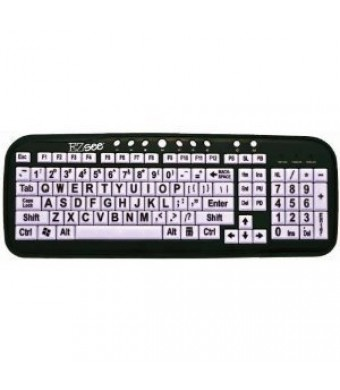 DataCal New and Improved EZSee by DC Large Print English QWERTY Keyboard - Vivid Black Letters on White Ba