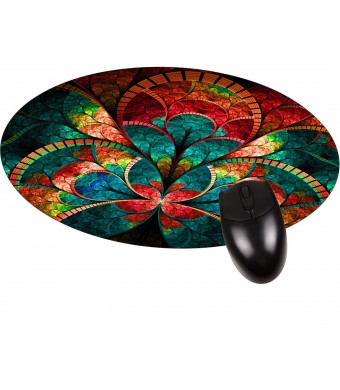 Jacks Outlet inc Stained Glass Flower Petals Round Mouse pad - Stylish, durable office accessory and gift