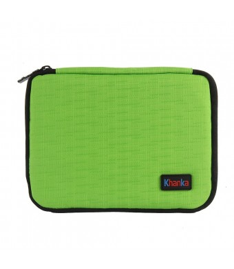 Khanka Portable Universal Electronics Accessories Travel Carrying Organizer Case For Various USB Cable, Flash Disk, Pen, Pencil and USB Drive Shuttle (Small-Green)