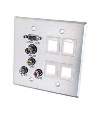 C2G / Cables To Go 40509 VGA, 3.5mm Audio, Composite Video and RCA Stereo Audio Pass Through Double Gang Wall Plate with Four Keystones - Brushed Aluminum