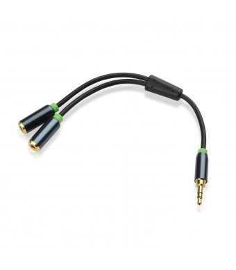 Cable Matters Gold Plated 3.5mm Stereo Splitter in Black 8 Inch