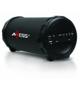 Axess SPBT1031-BK Portable Bluetooth Indoor/Outdoor Hi-Fi Cylinder Loud Speaker with SD Card and USB Input in Black Color