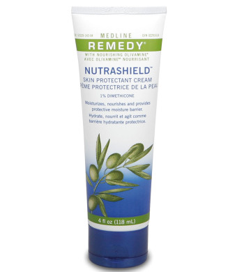 Medline Remedy Nutrashield Skin Protectant, Unscented (4 ounce), for use as a barrier cream, or dry or chapped skin, diaper rash, incontinence, IAD, or irritated skin