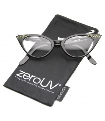 zeroUV - Vintage Cateyes 80s Inspired Fashion Clear Lens Cat Eye Glasses with Rhinestones Linda Belcher Bob's Burgers