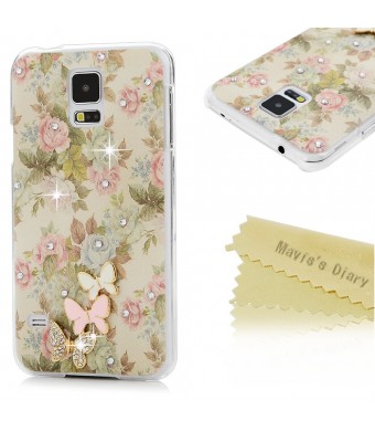S5 Case, Galaxy S5 Case - Mavis's Diary 3D Handmade Bling Crystal Cute Butterfly Sparkle Glitter Diamonds Fashion Floral Pink Flowers Design Hard Cover for Samsung Galaxy S5 I9600 2014 and Clean Cloth