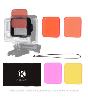 Diving Lens Filter Kit for HERO 4, HERO+, HERO and 3+ - fits Standard Waterproof Housing - Enhances Colors for Underwater Video and Photography - Includes 5 Filters for Vivid Colors, Contrast, Night