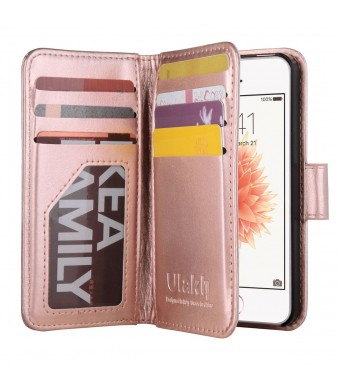iPhone 5s Case, iPhone 5 Case, ULAK iPhone 5s/5/SE Wallet Case, Fashion PU Leather Magnet Wallet Flip Case Cover with Built-in Credit Card/ID Card Slots for 5s 5G 5 SE,Rose Gold