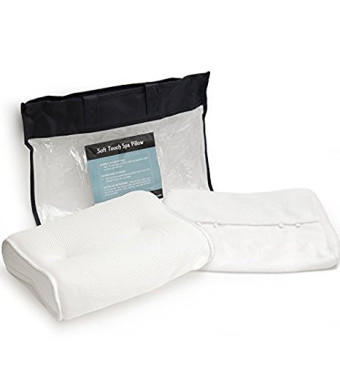 Super Soft Bath Pillow , BONUS Travel Case and Soft Removable Cover, Extra Large Suction Cups, No More Mold Quick Drying Mesh