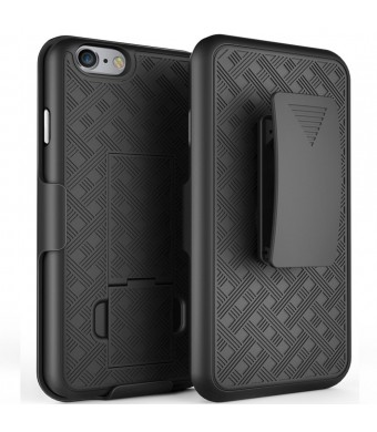 iPhone 8 Case, iPhone 7 Case, Bomea Hard Case with Belt Clip Super Slim Armor Holster Cover For Apple iPhone 7 8 Cases with Kickstand and Swivel Belt Clip Case - Holster Shell Combo - Black